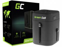 Uniwersalny Adapter Podróżny, Przejściówka Green Cell ® z Dwoma Portami USB do Gniazdka Elektrycznego USA / UK / AUS / Chiny
