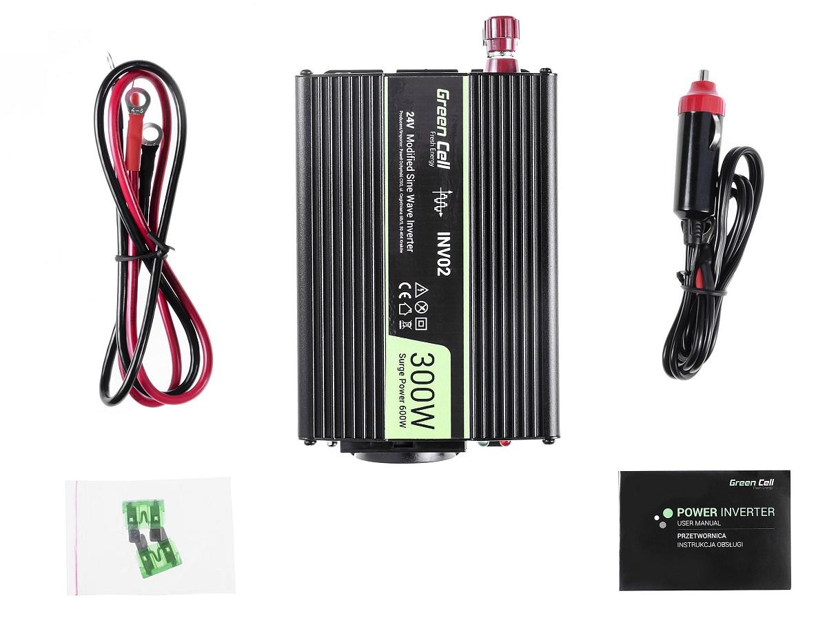 Przetwornica samochodowa napięcia 24V do 230V 300W 600W - zawartość zestawu