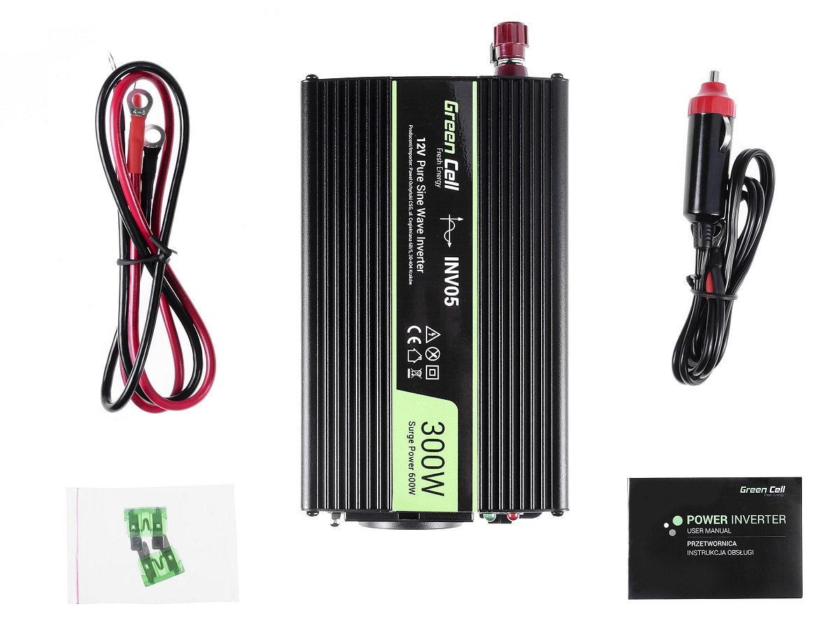 Przetwornica samochodowa napięcia 12V do 230V 300W 600W - zawartość zestawu