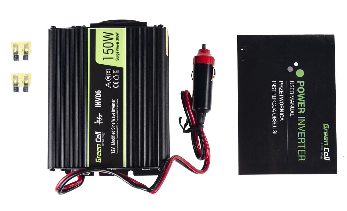 Przetwornica samochodowa napięcia 12V do 230V 150W 300W - zawartość zestawu