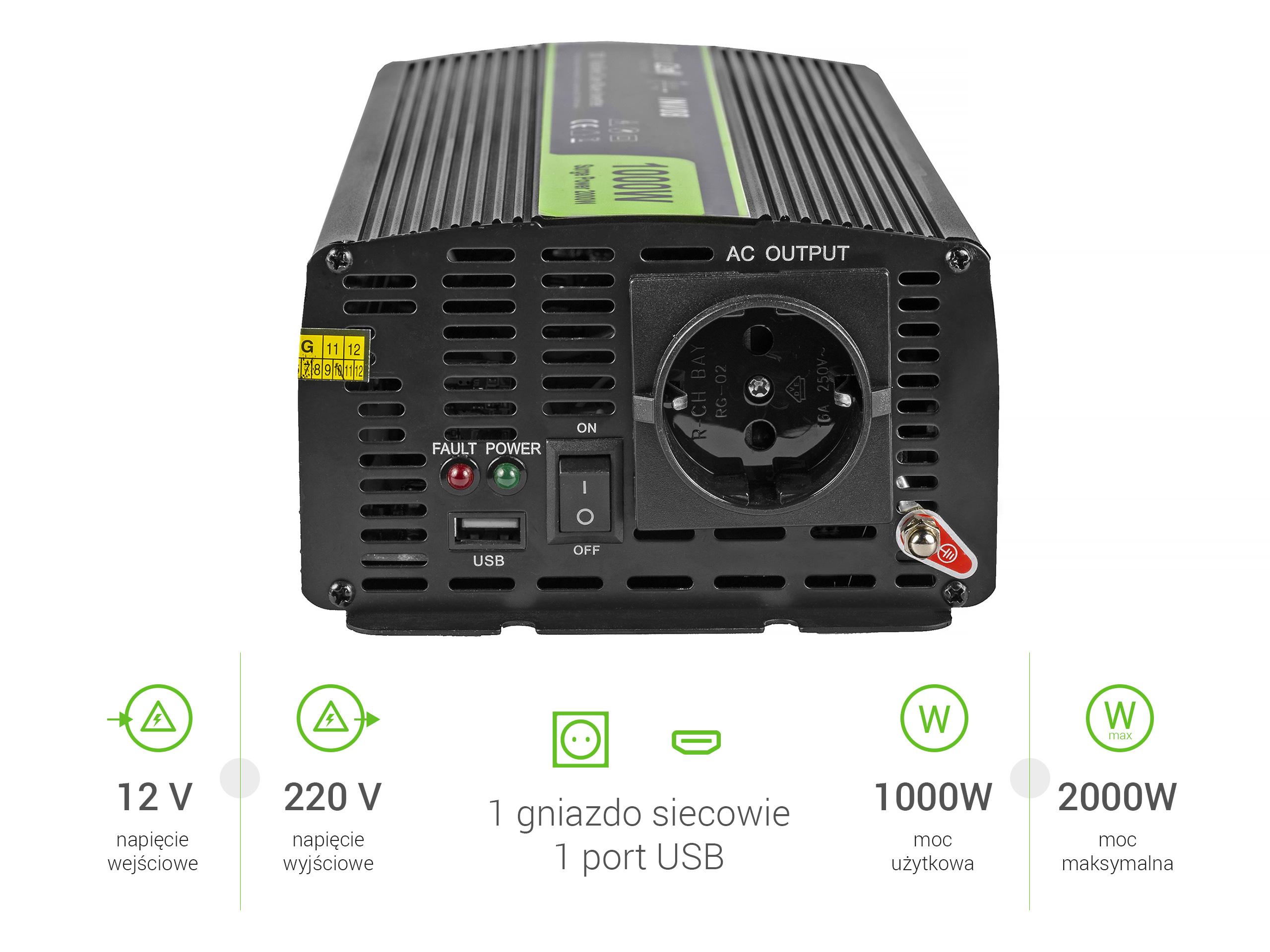 Przetwornica samochodowa napięcia 12V do 220V 1000W 2000W