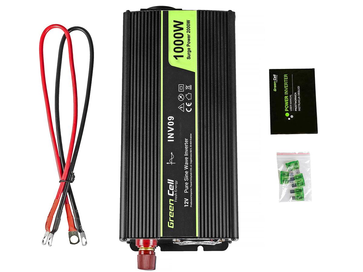 Przetwornica samochodowa napięcia 12V do 230V 1000W 2000W - zawartość zestawu
