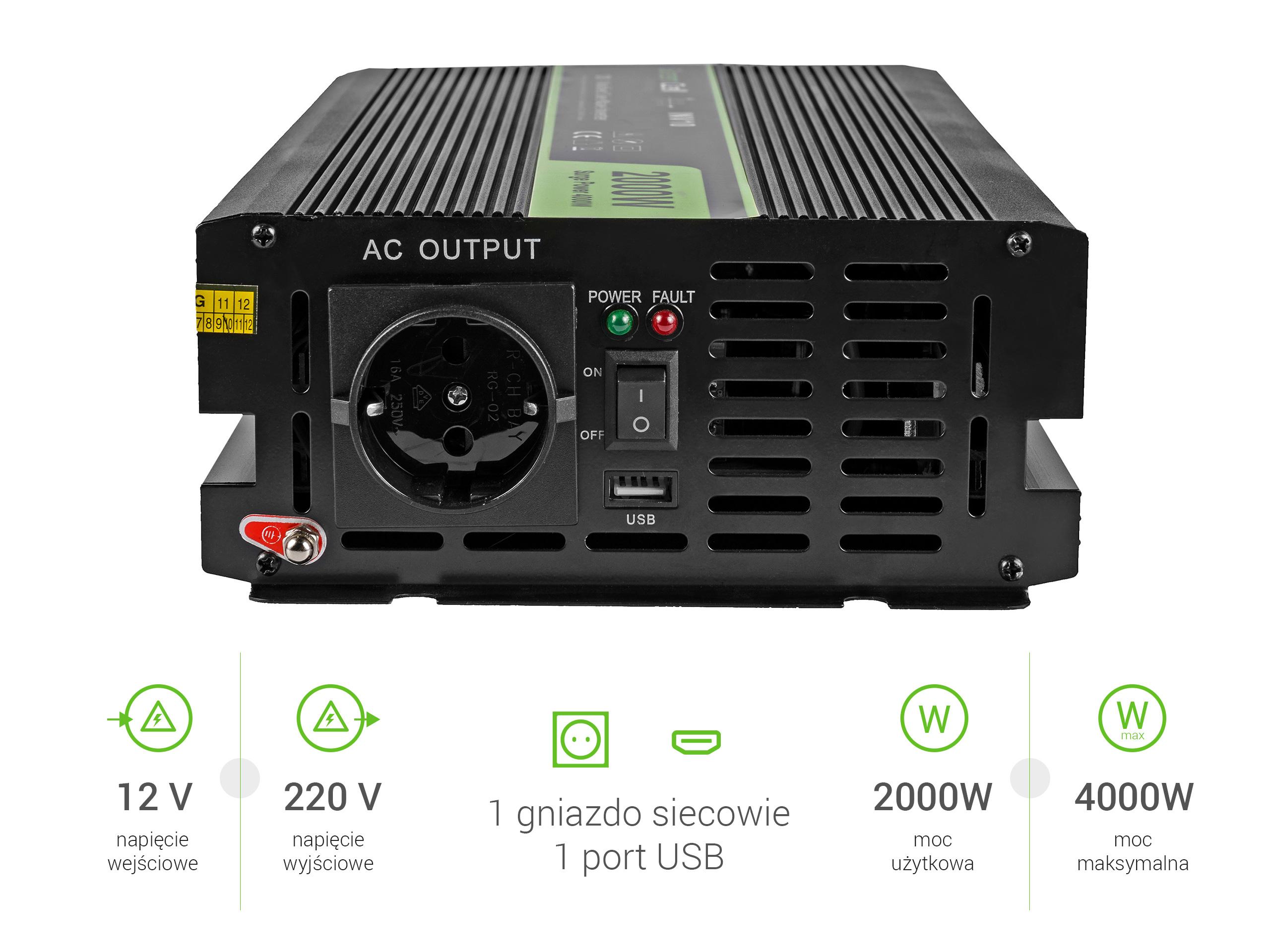 Przetwornica samochodowa napięcia 12V do 220V 2000W 4000W
