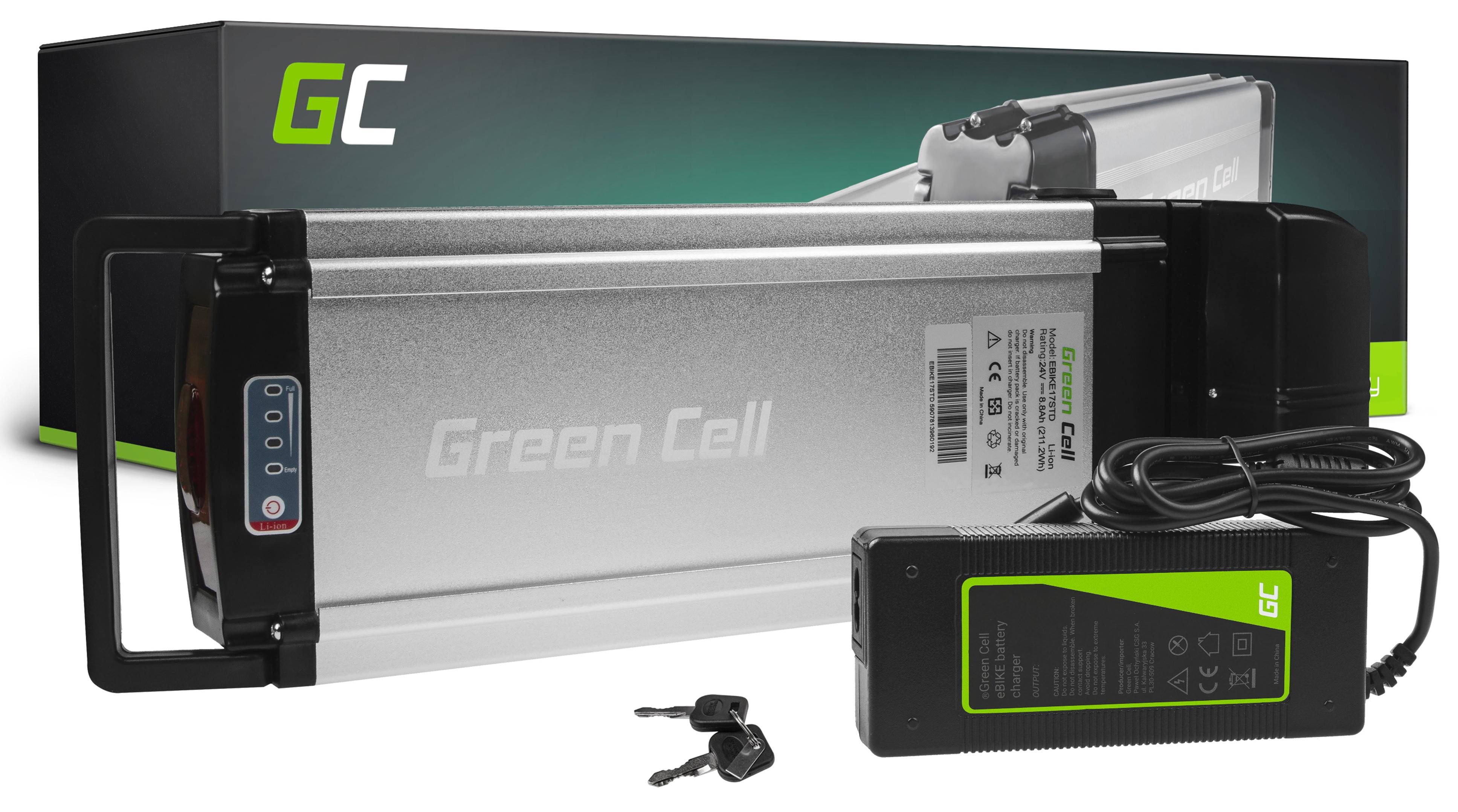 Green Cell GC/® Batterie V/élo Electrique 24V 13Ah Li-ION Rear Rack E-Bike Batterie avec Chargeur