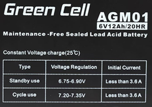 Green Cell AGM01 6V 12Ah 20HR