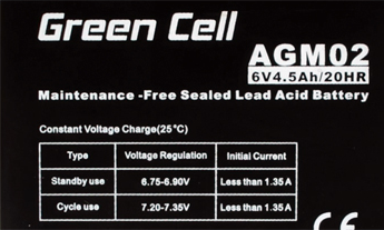 Green Cell AGM02 6V 4.5Ah 20HR