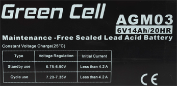 Green Cell AGM03 6V 4.5Ah 20HR