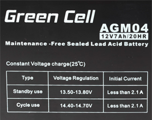 Green Cell AGM04 6V 12Ah 20HR