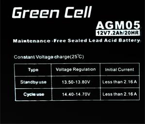 Green Cell AGM01 12V 7.2Ah 20HR