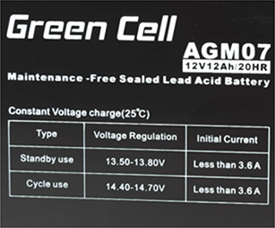 Green Cell AGM07 6V 12Ah 20HR