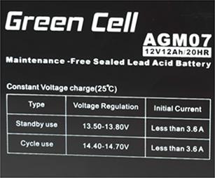 Green Cell AGM07 6V 12Ah 20HR