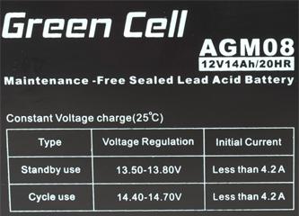 Green Cell AGM08 6V 12Ah 20HR