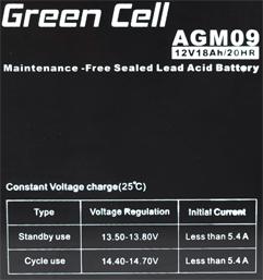Green Cell AGM09 6V 12Ah 20HR