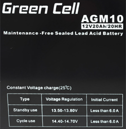 Green Cell AGM01 12V 20Ah 20HR