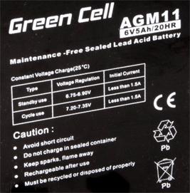 Green Cell AGM01 6V 5Ah 20HR