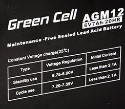 Green Cell AGM01 6V 7Ah 20HR